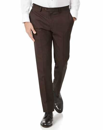Chocolate slim fit sharkskin travel suit pants