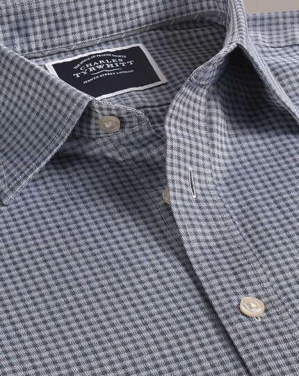 Slim Fit Hemd mit Karomuster und weicher Struktur in Blau und Grau