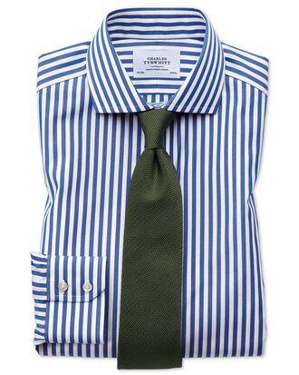 Slim fit cutaway non-iron Bengal stripe blue shirt