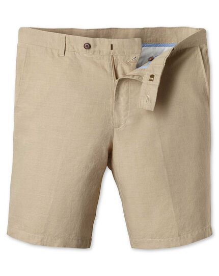 Stone cotton linen shorts