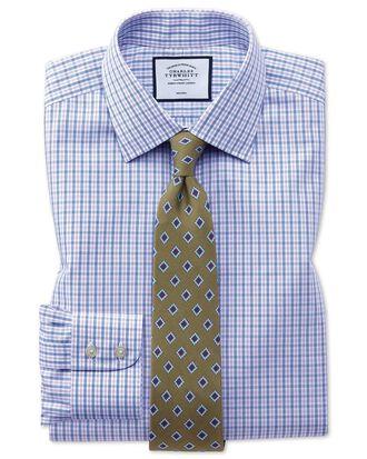 Chemise bleue et violette à carreaux slim fit sans repassage