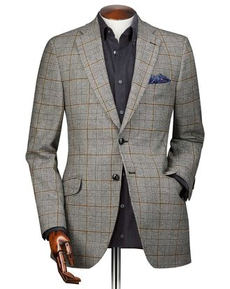 Classic fit black Prince of Wales check wool jacket
