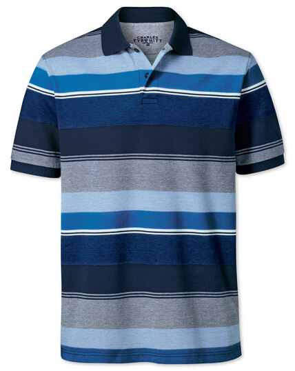 Blue multi stripe Oxford pique polo