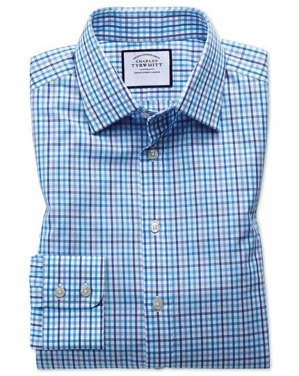 Extra slim fit poplin multi blue check shirt