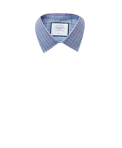 Slim fit non-iron Prince of Wales check blue and purple shirt