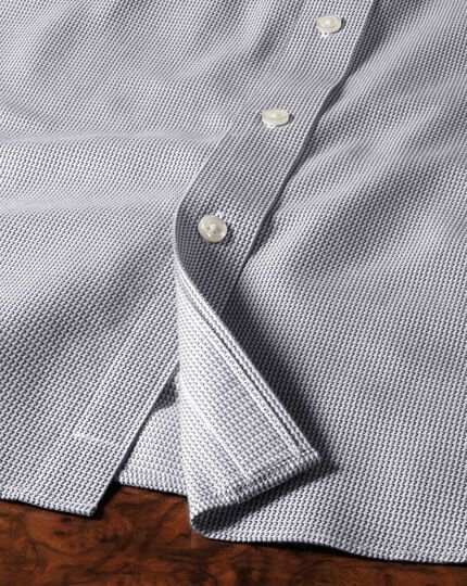 Extra slim fit spread collar non-iron grey shirt
