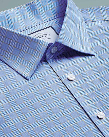 Bügelfreies Slim Fit Hemd mit Prince-of-Wales-Karos in Blau und Gold