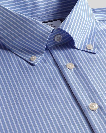 Button-Down Collar Non-Iron Stripe Shirt- Sky & White