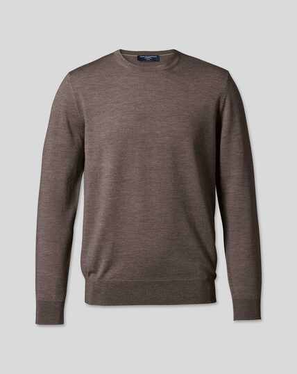 Merino Crew Neck Sweater - Mocha