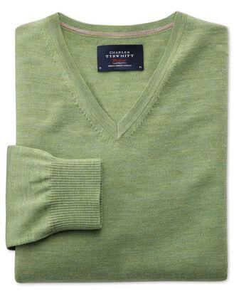 Light green merino wool v-neck jumper