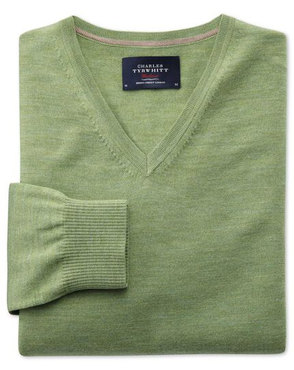 Light green merino wool v-neck jumper