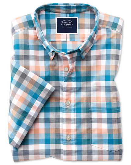 Classic fit coral multi check short sleeve soft washed non-iron Tyrwhitt Cool shirt