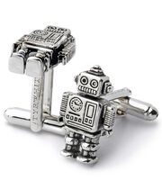 Antique finish silver mini robot cufflinks