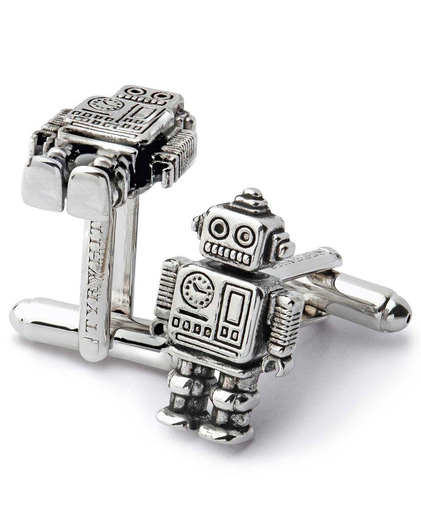 Antique finish silver mini robot cufflinks