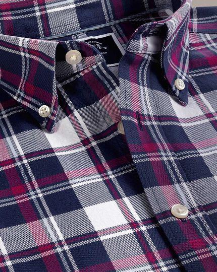 Vorgewaschenes Slim Fit Oxfordhemd mit Karomuster in Weiß und Rosa