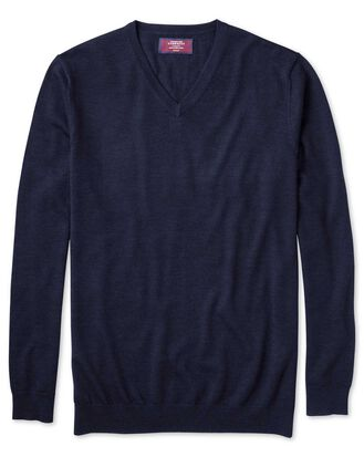 Navy merino silk v-neck jumper