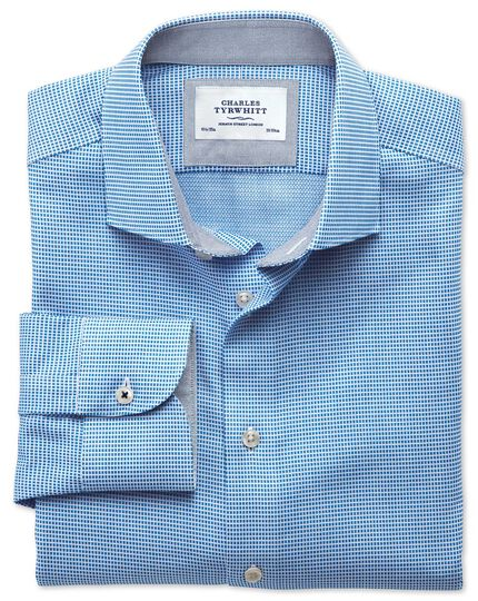 Slim fit semi-spread collar business casual textured blue shirt