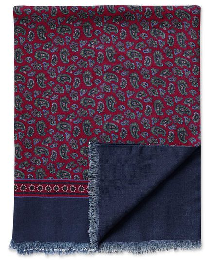 Écharpe bordeaux en laine à motif cachemire   Charles Tyrwhitt b582942d517