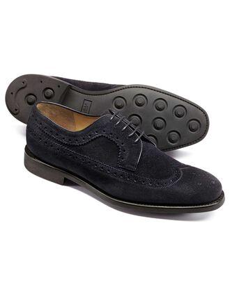 Goodyear rahmengenähte Budapester-Schuhe aus Wildleder mit Derby-Flügelklappe in Dunkelmarineblau