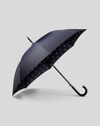 Klassischer Regenschirm mit Print - Marineblau