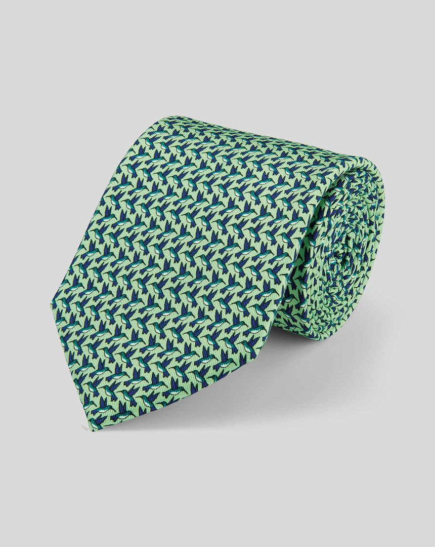 Klassische Krawatte aus Seide mit Kolibri-Print - Grün & Marineblau