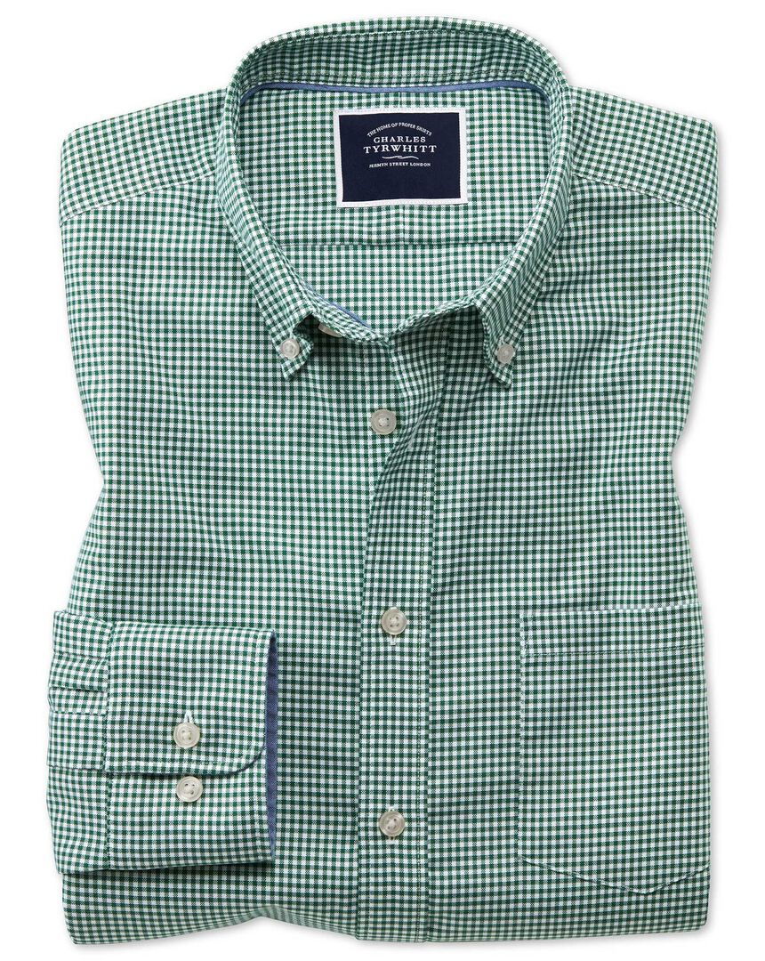 Gingham Soft Washed Non-Iron Stretch Shirt - Dark Green