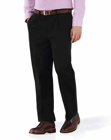Black classic fit single pleat non-iron chinos