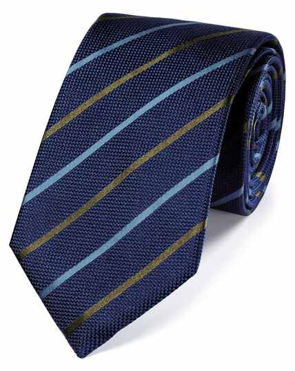 Blue and olive silk textured stripe classic tie