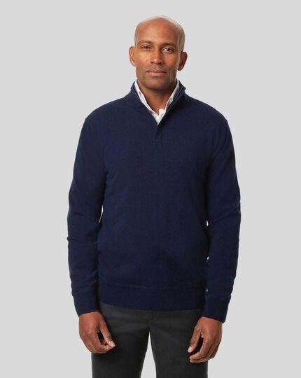 Merino Cashmere Zip Neck Sweater - Navy