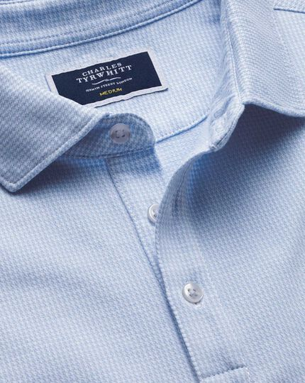 Sky blue puppytooth textured polo