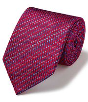 Red dash geometric luxury English tie