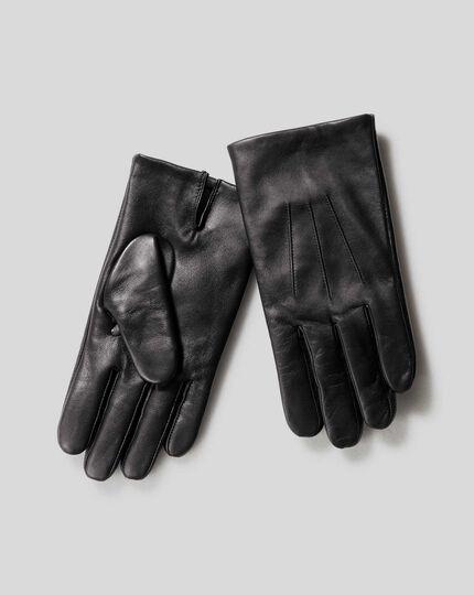 Touchscreen-Lederhandschuhe - Schwarz