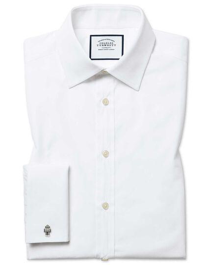 Slim fit white Egyptian cotton poplin shirt
