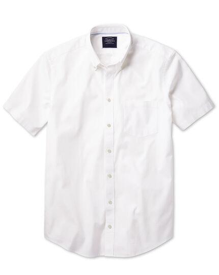Chemise blanche en oxford délavé coupe droite à manches courtes