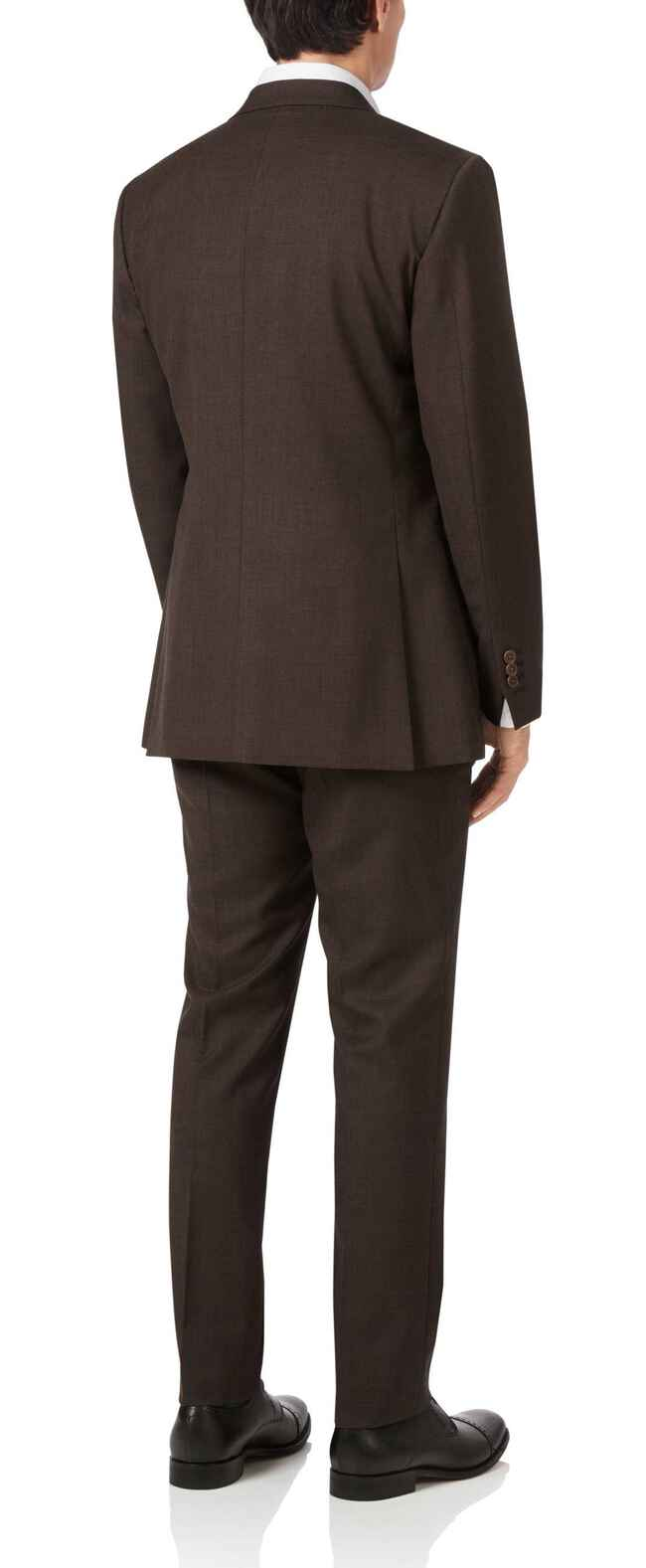 Chocolate slim fit sharkskin travel suit