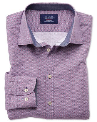 Extra slim fit magenta and blue print shirt