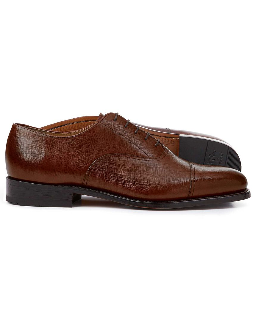 Brown Goodyear welted Oxford toe cap shoes