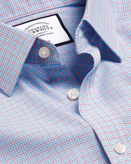 Non-Iron Poplin Check Shirt - Sky & Red