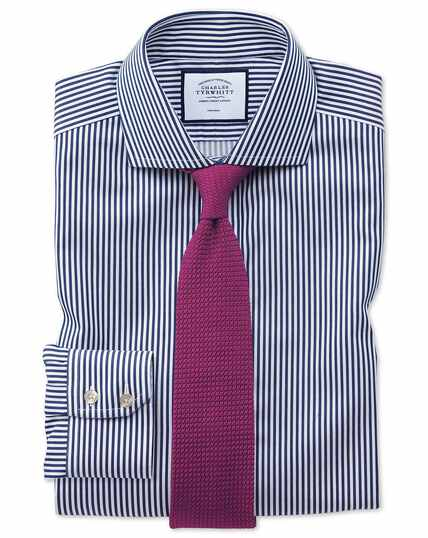 Extra slim fit non-iron cutaway collar navy twill stripe shirt