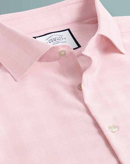 Business Casual Non-Iron Check Shirt - Pink