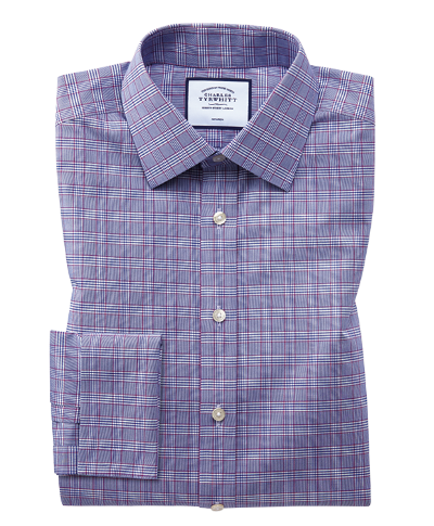 Slim fit non-iron berry and navy Prince of Wales check shirt