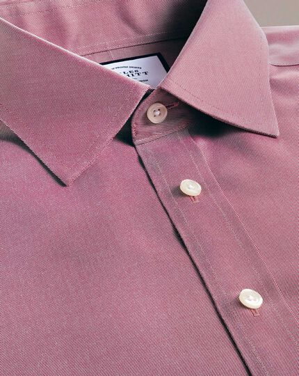 Classic fit non-iron red twill shirt