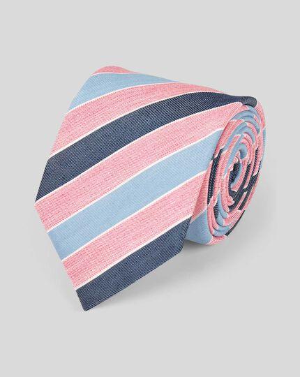 Klassische Krawatte aus Leinen & Seide mit sommerlichen Streifen - Rosa & Himmelblau