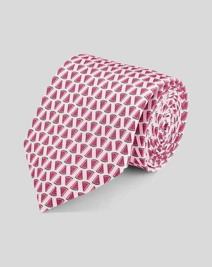 Watermelon Silk Print Tie - Pink