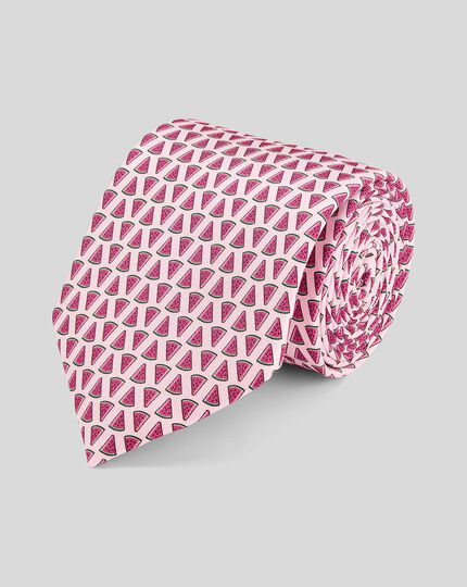 Watermelon Silk Print Classic Tie - Pink
