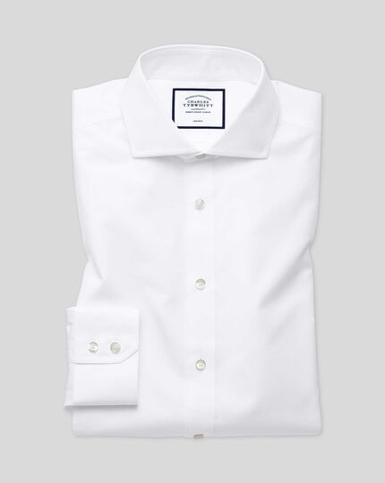 Slim fit cutaway non-iron natural cool white shirt