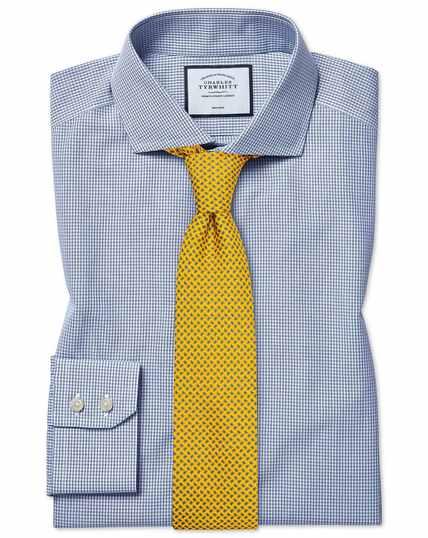 Extra slim fit non-iron cutaway Tyrwhitt Cool poplin check blue shirt