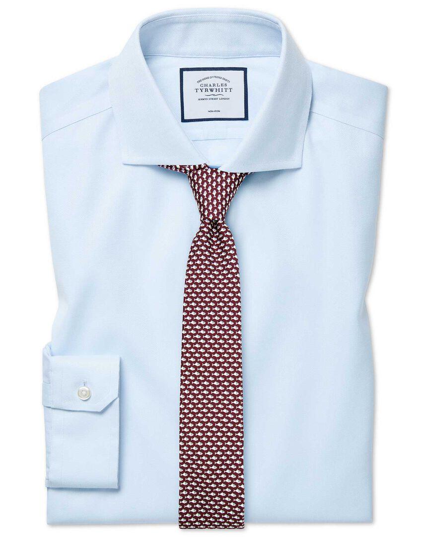 Super slim fit cutaway non-iron cotton stretch Oxford light blue shirt