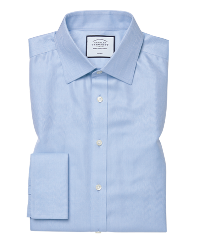Classic fit non-iron sky blue herringbone shirt