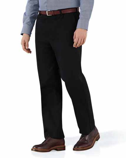 3e409bc010b34 ... Black classic fit flat front non-iron chinos
